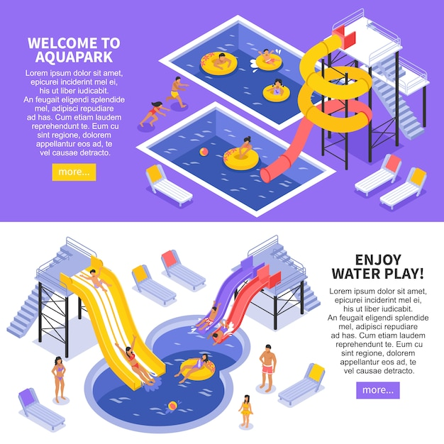 Aqua park banner eingestellt Kostenlosen Vektoren