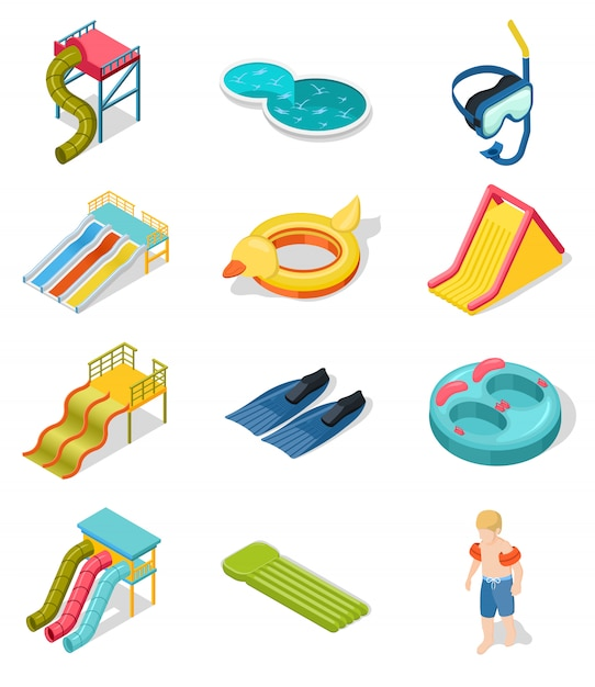 Aqua park isometric icon set Kostenlosen Vektoren