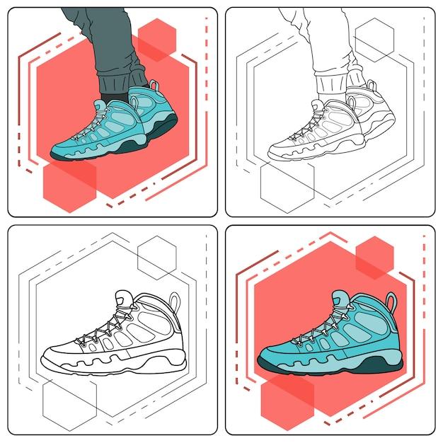 Aqua stiefel leicht bearbeitbar Premium Vektoren