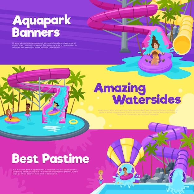 Aquapark horizontale banner Kostenlosen Vektoren
