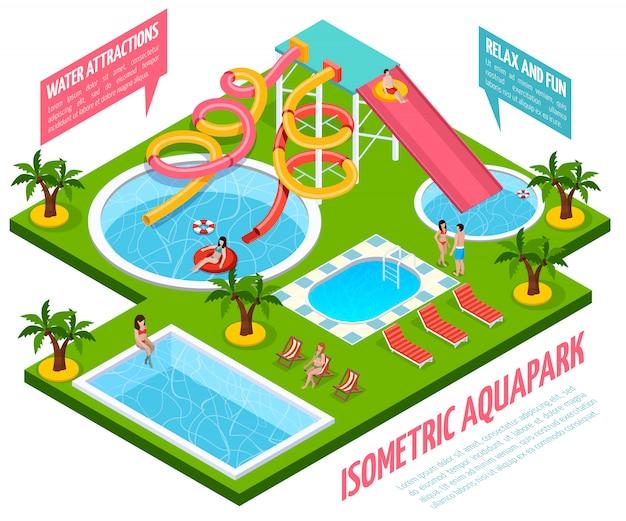 Aquapark isometrische zusammensetzung Kostenlosen Vektoren