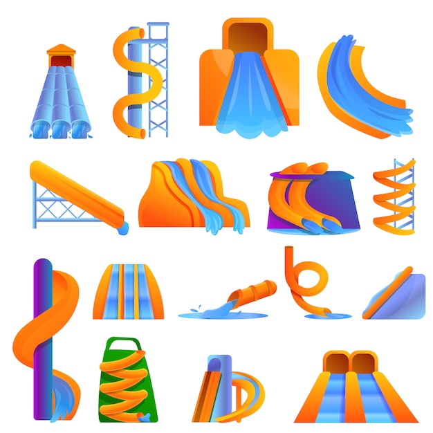 Aquapark-set im cartoon-stil Premium Vektoren