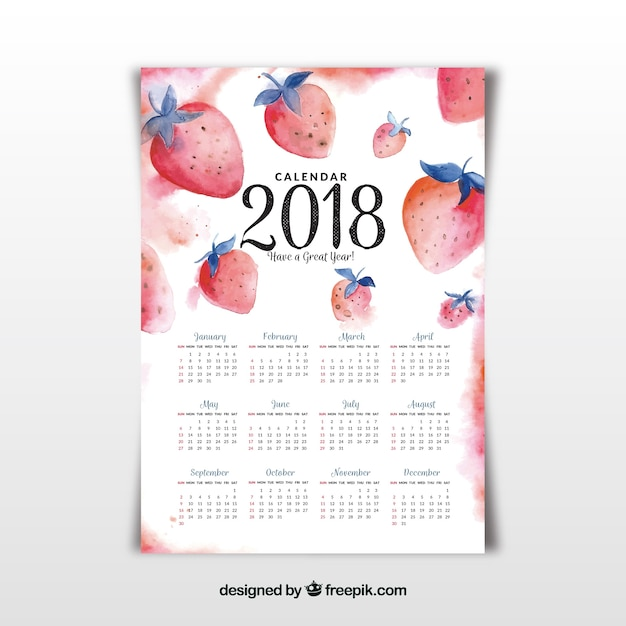 Aquarell 2018 kalender Kostenlosen Vektoren