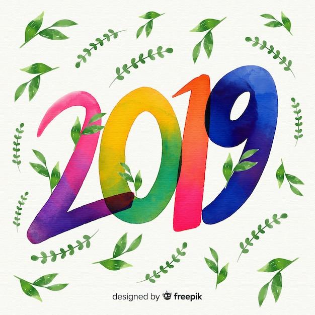 Aquarell 2019 hintergrund mit blättern Kostenlosen Vektoren