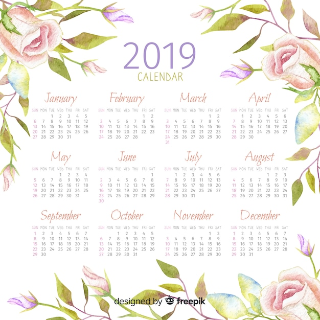 Aquarell 2019 kalender Kostenlosen Vektoren