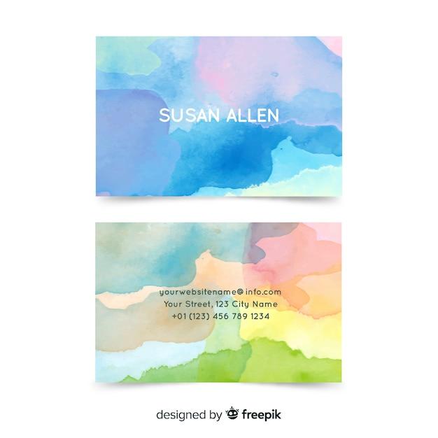 Aquarell abstrakte visitenkarte vorlage Kostenlosen Vektoren