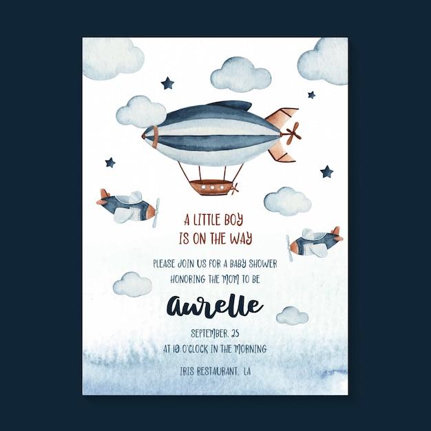 Aquarell-babypartyeinladungskartenschablone mit zeppelin- und himmelsszenenillustration Premium Vektoren