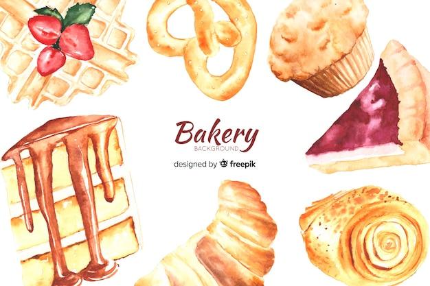 Aquarell bäckerei hintergrund Kostenlosen Vektoren