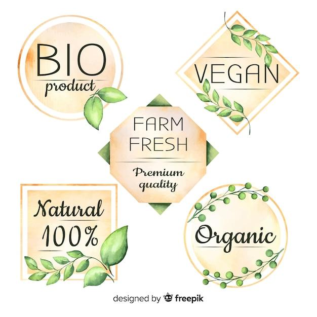 Aquarell bio-logo-logo-sammlung Kostenlosen Vektoren