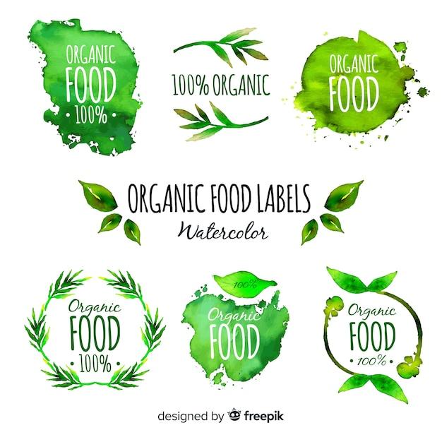 Aquarell-bio-obst-label-set Kostenlosen Vektoren