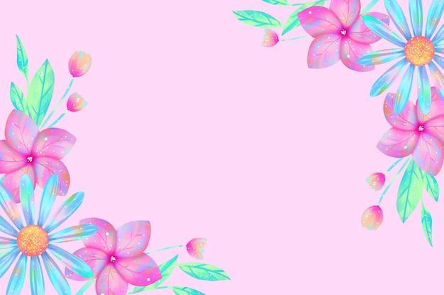Aquarell blüht tapete im pastellfarbkonzept Kostenlosen Vektoren