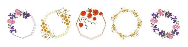 Aquarell blumenblumen rahmen Premium Vektoren