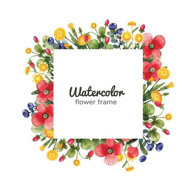 Aquarell blumenrahmen mit wildblumen. quadratischer rahmen mit blumen Premium Vektoren