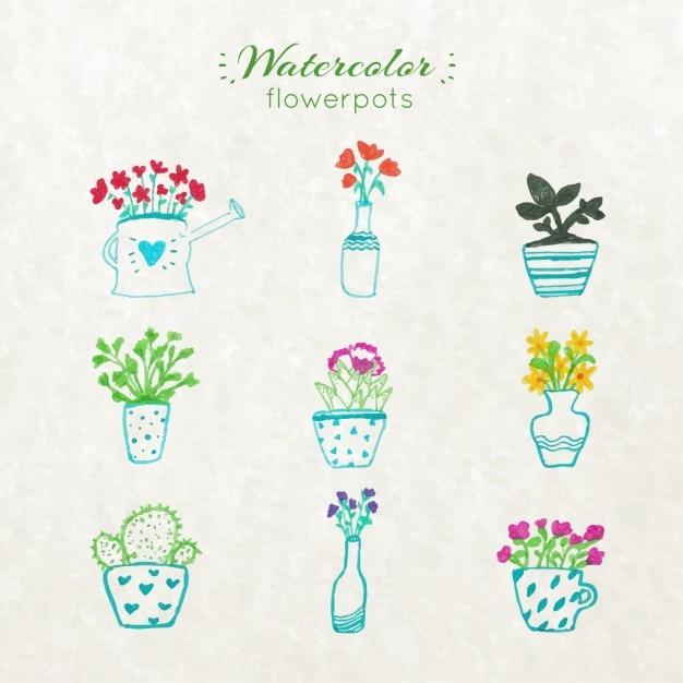 Aquarell Blumentöpfe | Download der kostenlosen Vektor