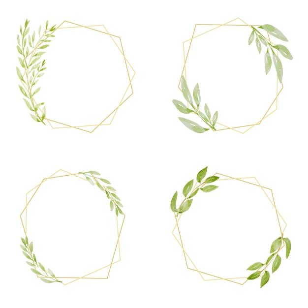 Aquarell botanische handzeichnung grüner blattkranz mit goldener rahmensammlung Premium Vektoren