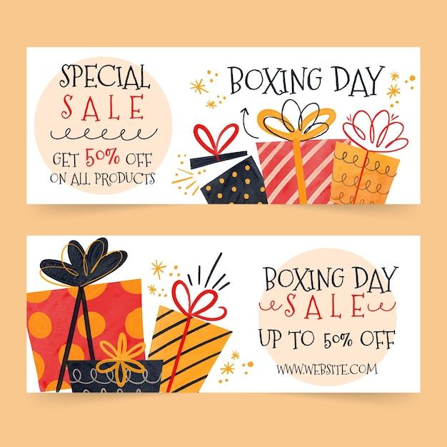 Aquarell boxing day sale banner Kostenlosen Vektoren