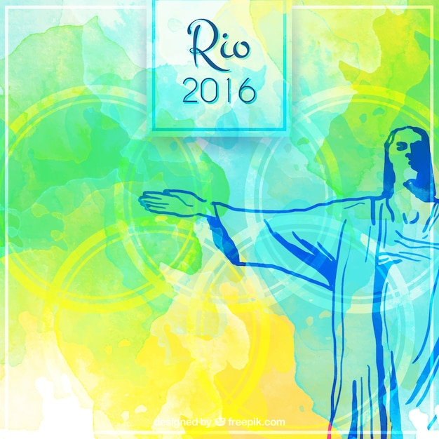 Aquarell brasilien hintergrund mit hand gezeichnet christus von redemmer Kostenlosen Vektoren