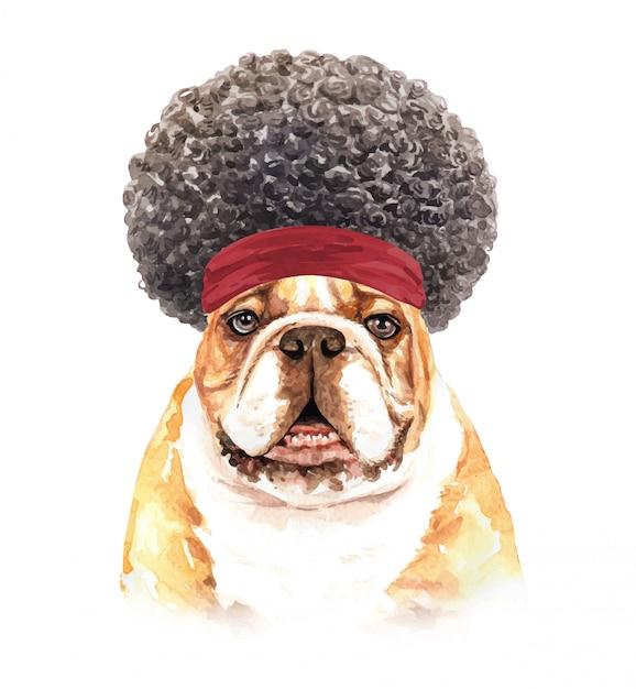 Aquarell-bulldogge mit afro-haar. Premium Vektoren