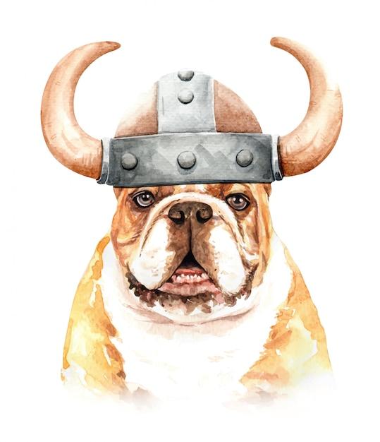 Aquarell-bulldogge mit wikingerhut Premium Vektoren