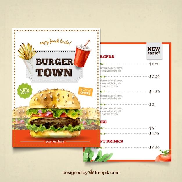 Aquarell-Burger-Menü Kostenlose Vektoren