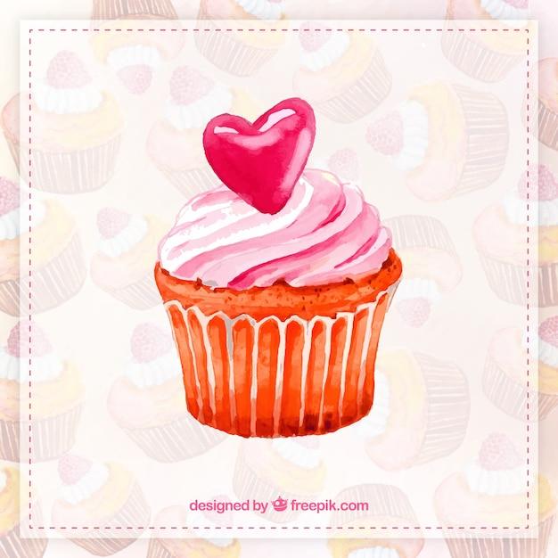 Aquarell cupcake hand bemalt Kostenlosen Vektoren
