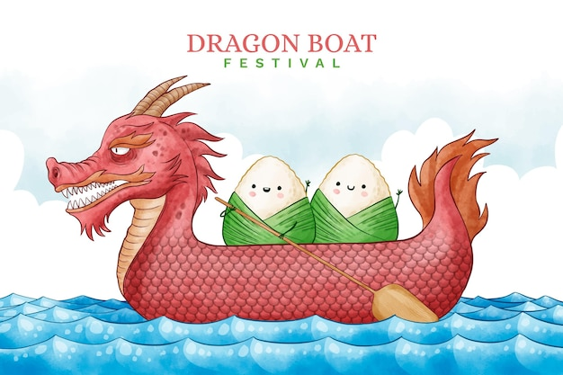 Aquarell drachenboot hintergrund Kostenlosen Vektoren