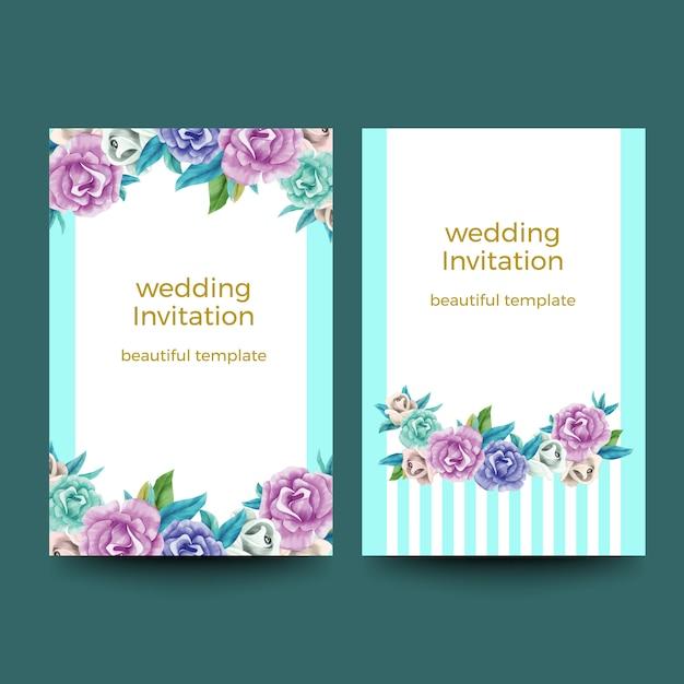 Aquarell einladungskarten-designs Premium Vektoren