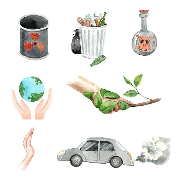 Aquarell-elementdesign der globalen erwärmung Kostenlosen Vektoren