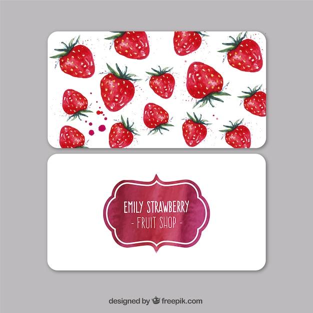 Aquarell Erdbeeren Visitenkarte Kostenlose Vektoren