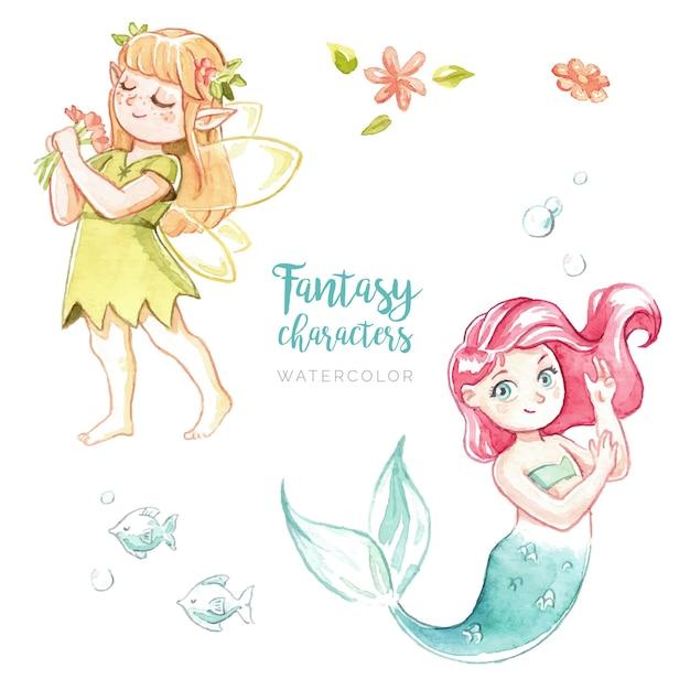 Aquarell fantasy-figuren Kostenlosen Vektoren