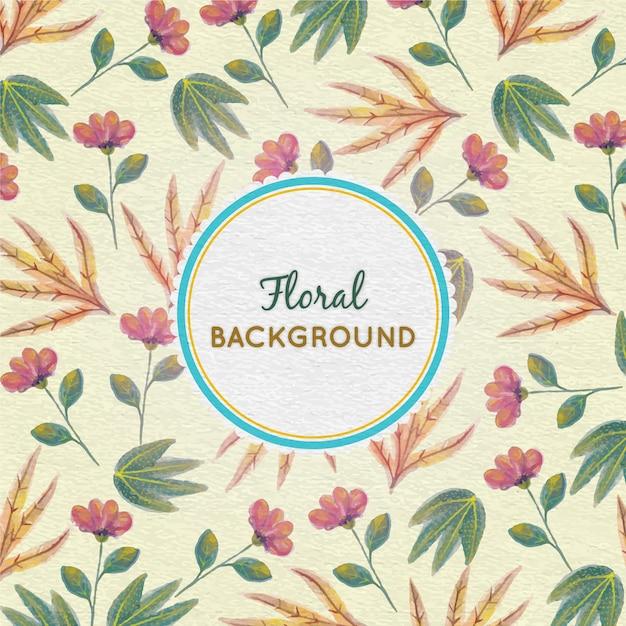 Aquarell floral background mit rahmen Premium Vektoren
