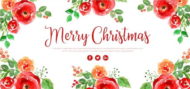 Aquarell floral frohe weihnachten banner Premium Vektoren