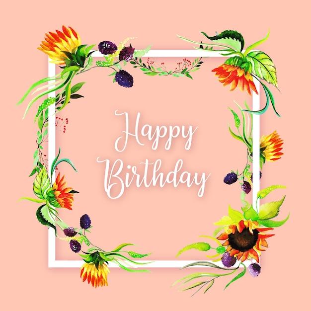 Aquarell Floral Herzlichen Glückwunsch Zum Geburtstag Rahmen