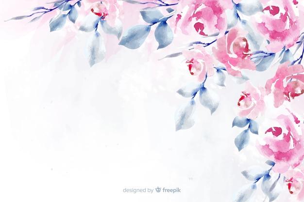 Aquarell floral hintergrund mit weichen farben Kostenlosen Vektoren
