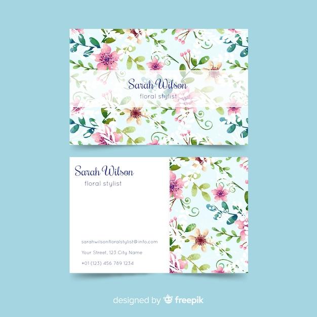Aquarell floral visitenkartenvorlage Kostenlosen Vektoren