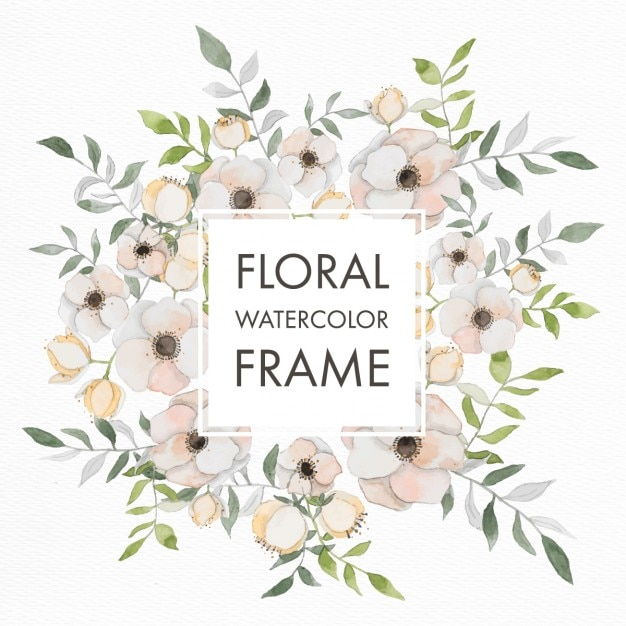 Aquarell floralen rahmen mit pastellfarbenen blüten Kostenlosen Vektoren