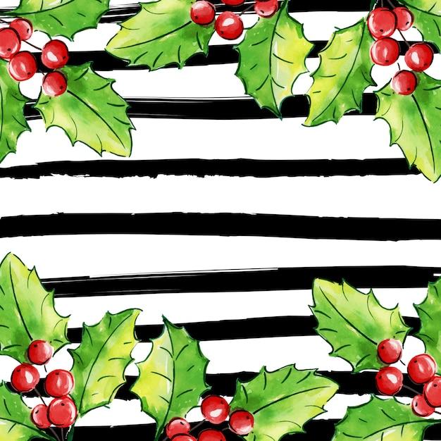 Aquarell-frohe weihnacht-blumenhintergrund mit streifen Premium Vektoren