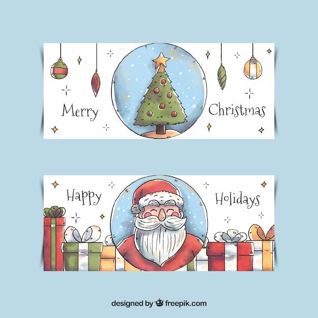 Aquarell frohe weihnachten banner download der kostenlosen vektor - Aquarell weihnachten ...
