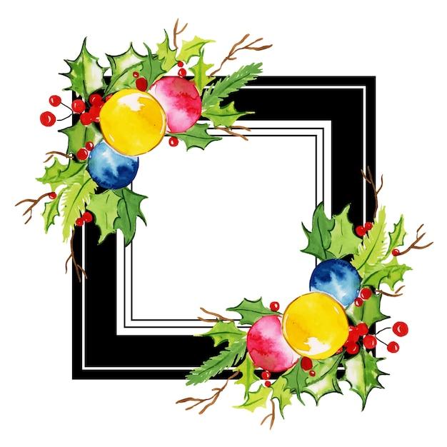 Aquarell-frohe weihnachten-blumenrahmen Premium Vektoren
