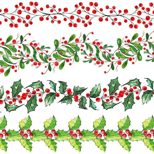 Aquarell-frohe weihnachten-grenzsammlung Premium Vektoren