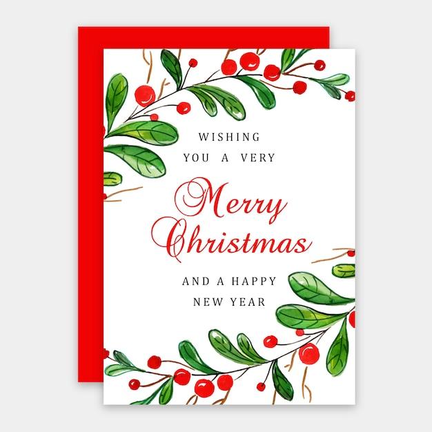 Aquarell frohe weihnachten grußkarte Premium Vektoren