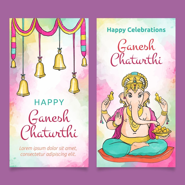 Aquarell ganesh chaturthi banner Premium Vektoren