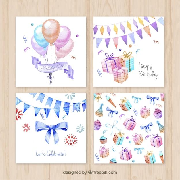 Aquarell Geburtstagskarten | Download der Premium Vektor