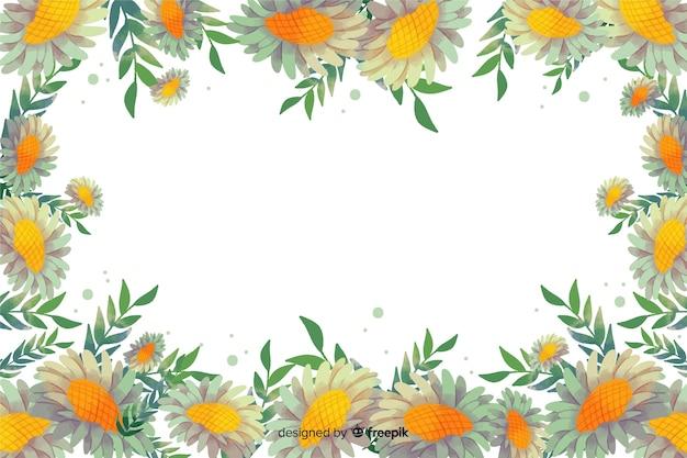 Aquarell gelb floral frame hintergrund Kostenlosen Vektoren