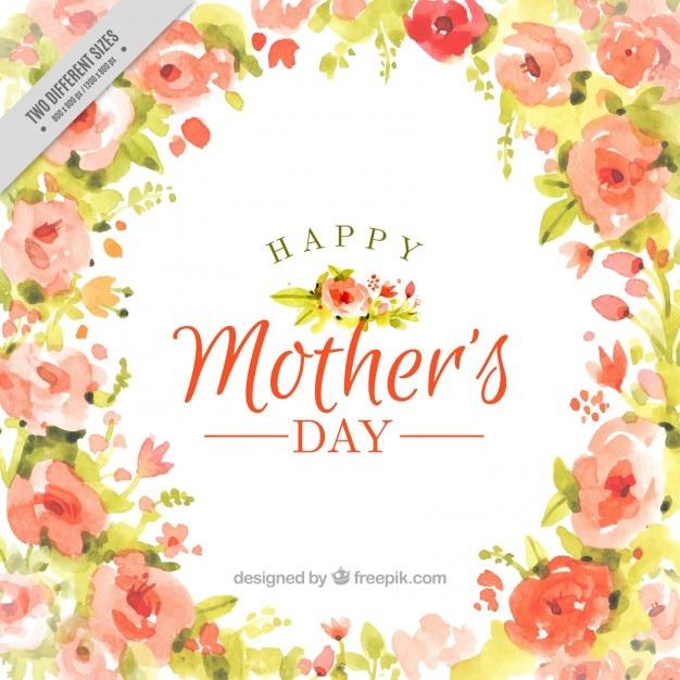 Aquarell glückliche Tag der Mutter Hintergrund voller Blumen Kostenlose Vektoren