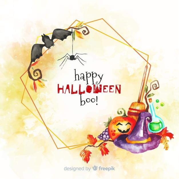 Aquarell glücklich halloween boo! rahmen Kostenlosen Vektoren
