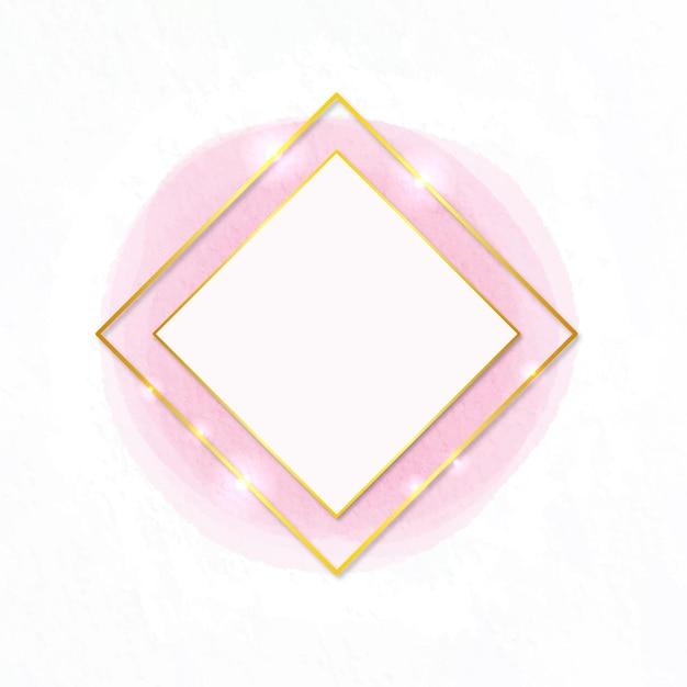 Aquarell goldener rahmen diamantform Kostenlosen Vektoren