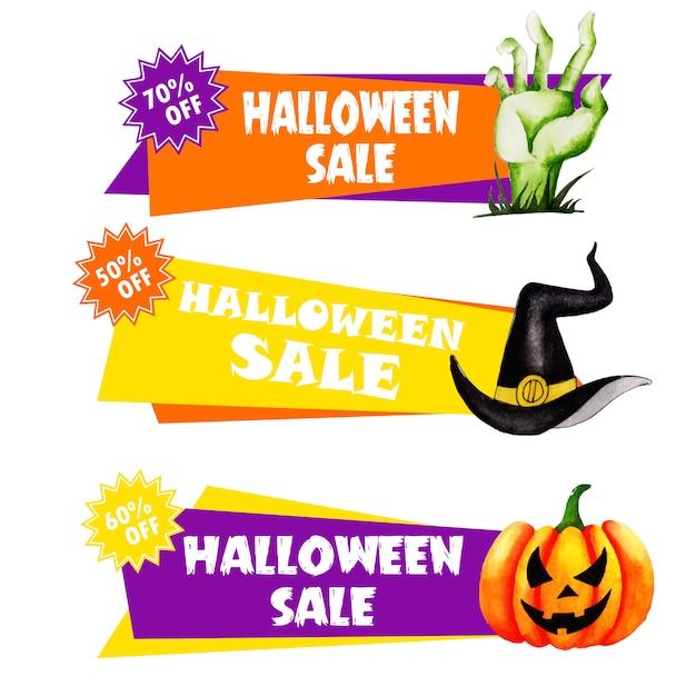 Aquarell halloween etiketten sammlung Premium Vektoren