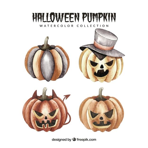 Aquarell Halloween Kürbisse eingestellt | Download der kostenlosen ...