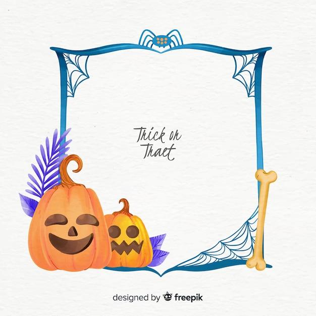 Aquarell halloween-rahmen mit kürbis Kostenlosen Vektoren
